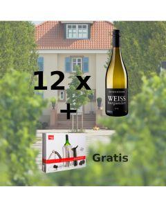 12 Markus Schneider Weissburgunder + 1 Wine Essential Set von Vacu Vin