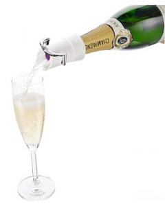 Champagnerverschluß mit Außgießer und Tropfschutz